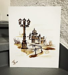 FESTÉK NÉLKÜLI otthoni szett online festéshez KRISTINA GAVRILOVA festményéhez KÁVÉVAL