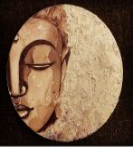 ECSET, FESTÉK RAGASZTÓ ÉS ARANYFÓLIA NÉLKÜLI otthoni szett online festéshez BUDDHA kávéval festve, aranyfóliával, kerek vászonra
