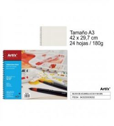 Artix Akvarellpapír tömb A3 24 lap 180 g