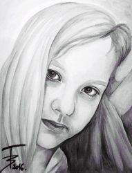 Akvarell portré 30*40 cm-es feszített vászonra