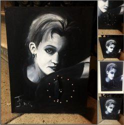 Saját portréval rendelhető olajfestmény 50*70 cm-es feszített vászonra, óraszerkezettel