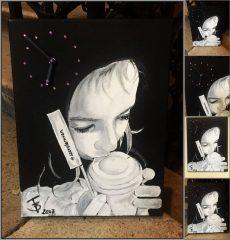 Saját portréval rendelhető olajfestmény 40*50 cm-es feszített vászonra, óraszerkezettel