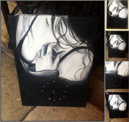 Saját portréval rendelhető olajfestmény 30*40 cm-es feszített vászonra, óraszerkezettel