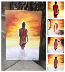 ECSET ÉS FESTÉK NÉLKÜLI otthoni szett online festéshez NITIN SONAWALE festményéhez (vásznat tartalmaz)