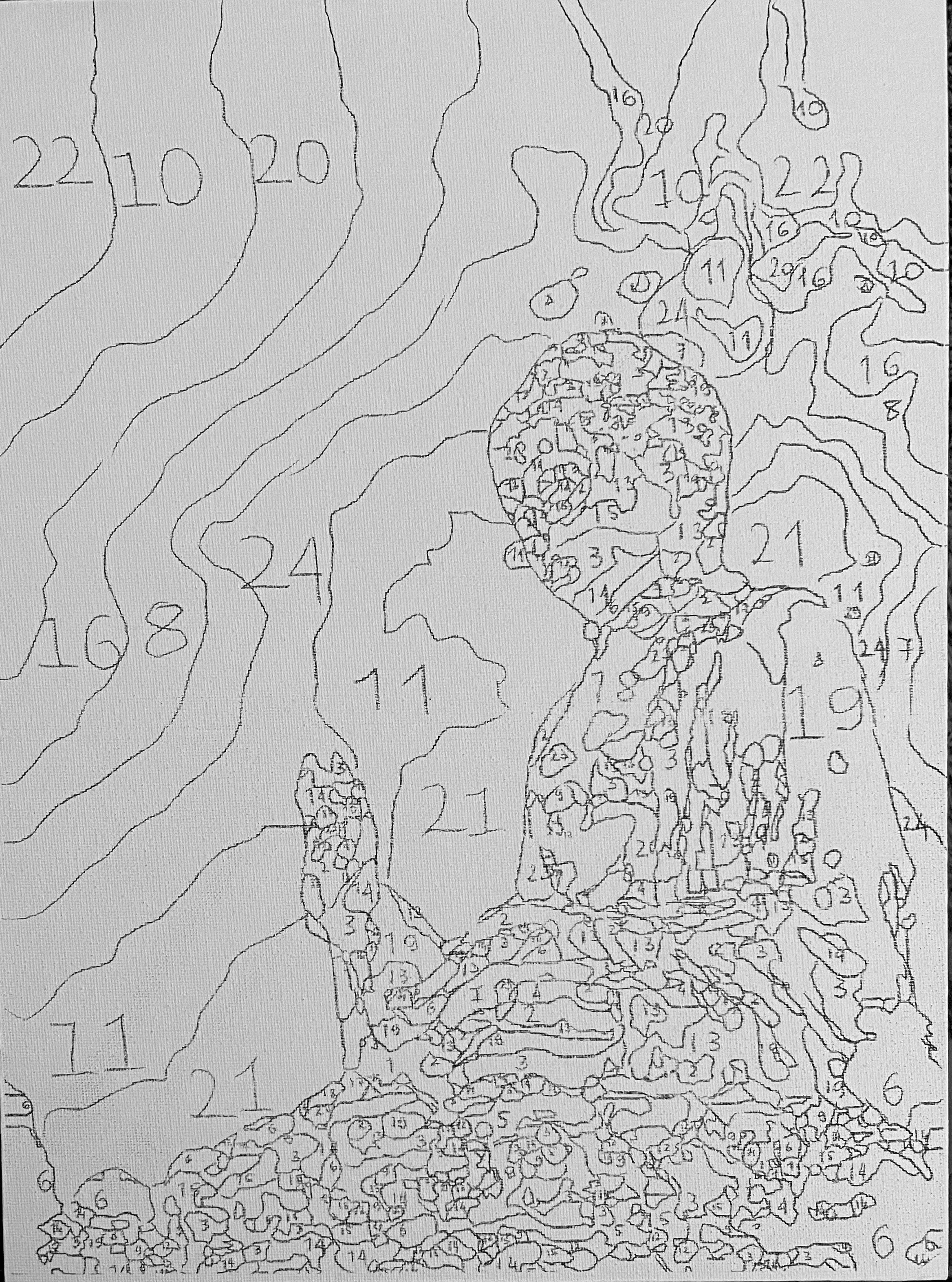A szám szerinti kifestő felrajzolva a vászonra